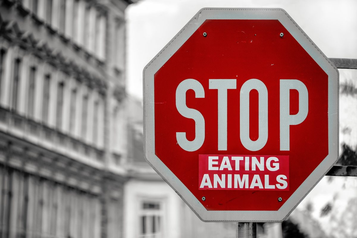 "Stoppschild mit Sticker ""eating animals"""